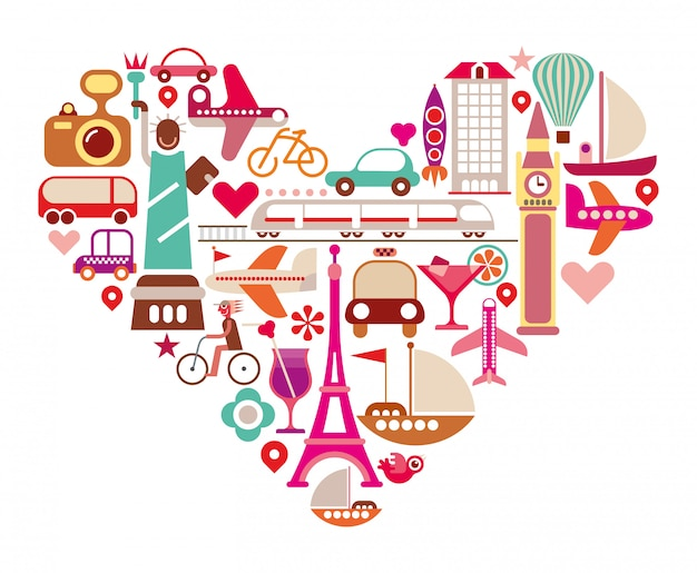 Herz reisen Premium Vektoren