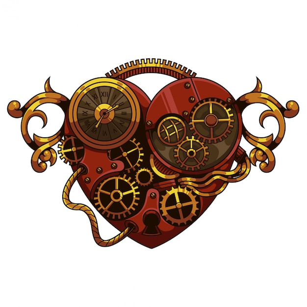 Herz steampunk illustration Premium Vektoren