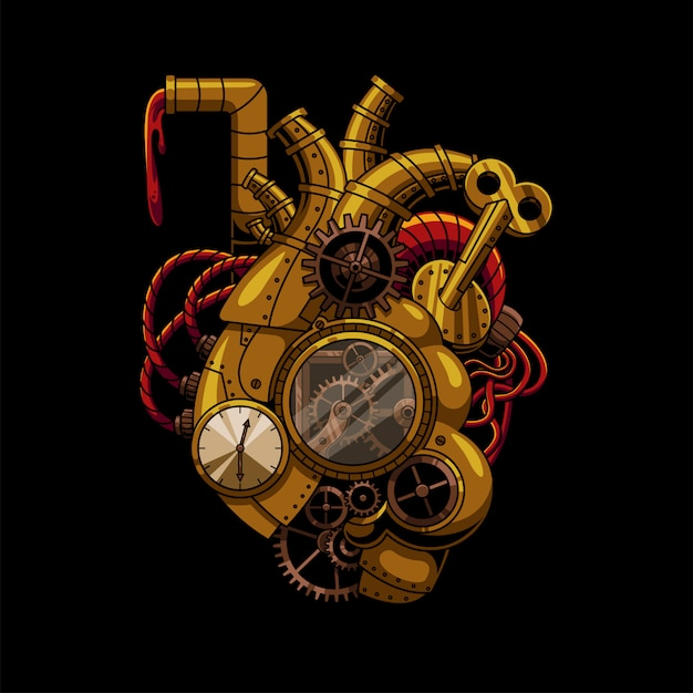 Herz steampunk illustration Premium Vektoren