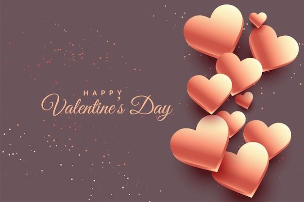 Herz-valentinstaghintergrund der rosafarbenen gold 3d Kostenlosen Vektoren