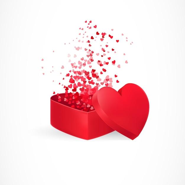 Herzen fliegen aus der kiste Kostenlosen Vektoren