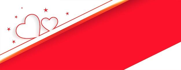 Herzen lieben banner mit textraumdesign Kostenlosen Vektoren