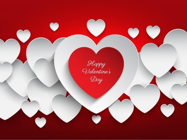 Herzen Valentinstag Rotem Hintergrund Download Der Kostenlosen Vektor