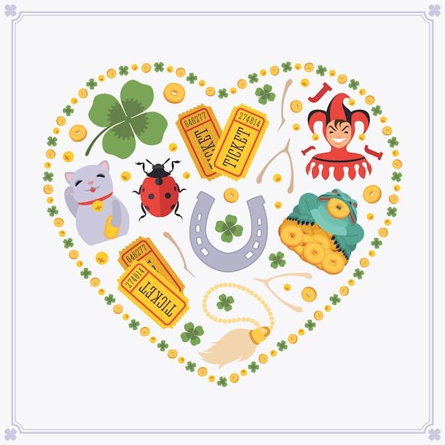 Herzförmiges dekorationsdesign aus glücksbringern Premium Vektoren