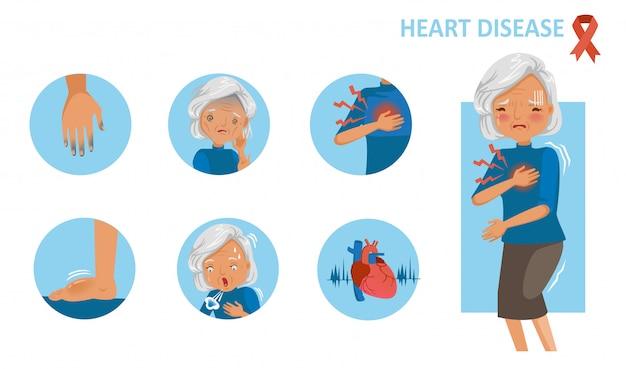 Herzkrankheit. symptome von herzinfarkt stehende hand der alten frau, die schmerz in der brust hält. Premium Vektoren