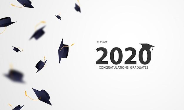 Herzlichen glückwunsch absolventen klasse 2020 mit fliegenden mörtelbrett Premium Vektoren