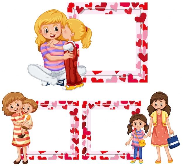 Herzrahmen Vorlagen mit Mutter und Kindern | Download der Premium Vektor