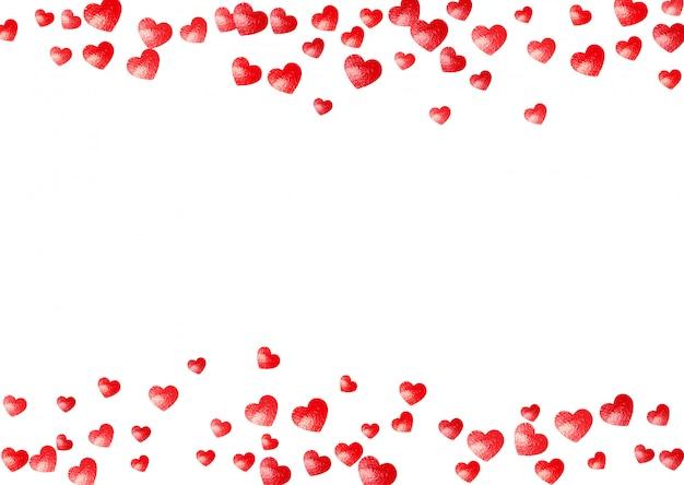 Herzrahmenhintergrund mit goldfunkelnherzen. valentinstag. vektor konfetti. handgezeichnete textur. Premium Vektoren