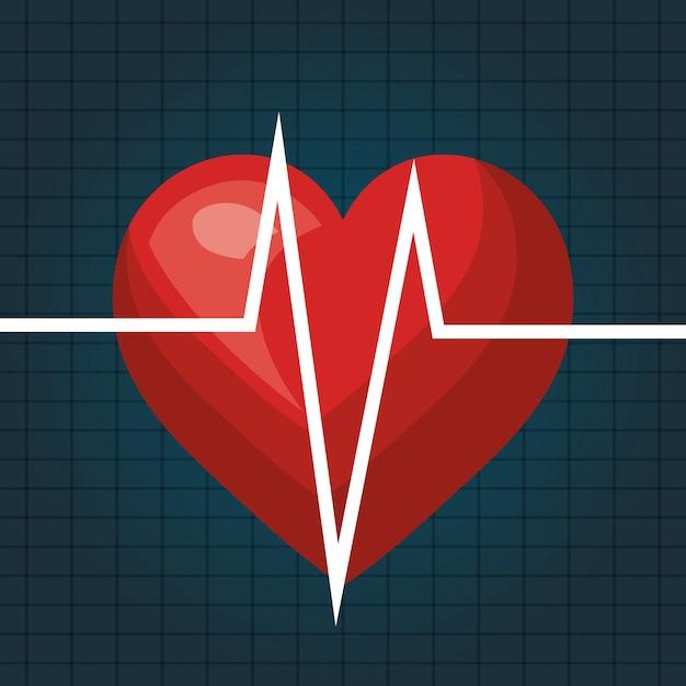 Herzschlag isoliert icon-design Premium Vektoren