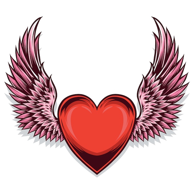 Herzsymbol mit flügeln Premium Vektoren