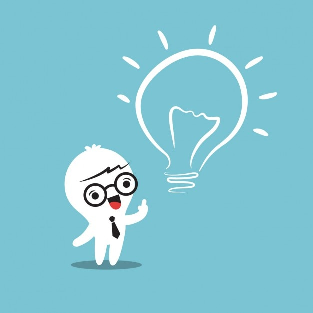 Heureka Glühbirne Idee Karikatur Kostenlose Vektoren