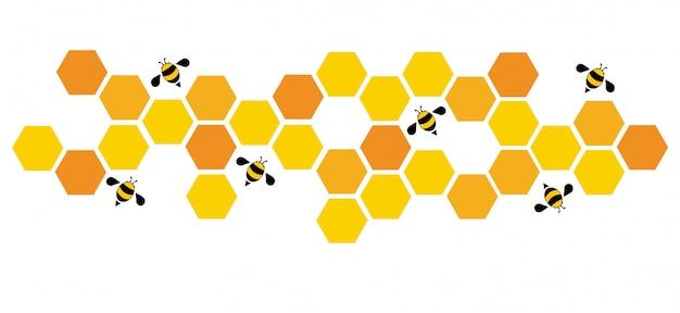 Hexagon-bienenstock-designhintergrund Premium Vektoren