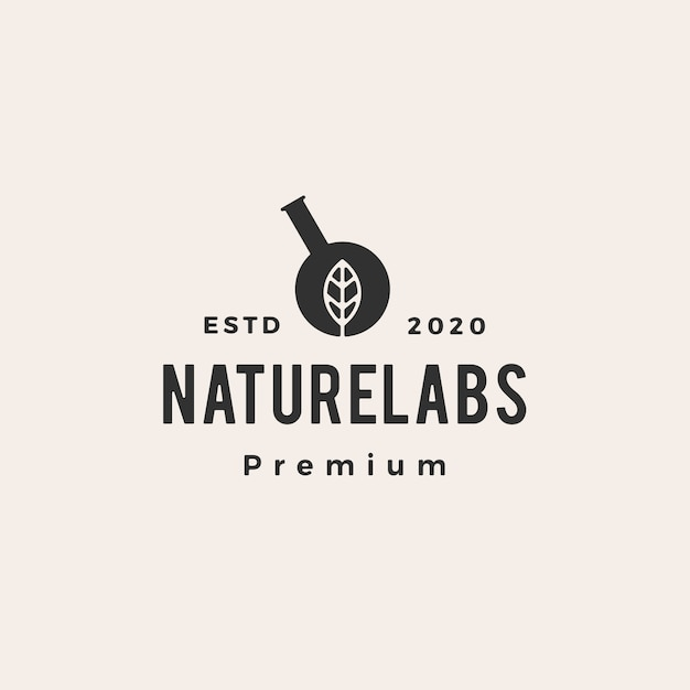 Hexagon blatt labor labs hipster vintage logo symbol illustration Premium Vektoren