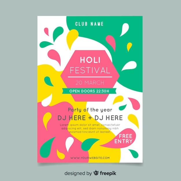 Hexagon holi festival party poster Kostenlosen Vektoren