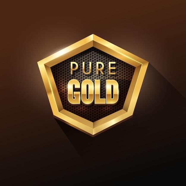 Hexagon shape shiny golden badge Premium Vektoren