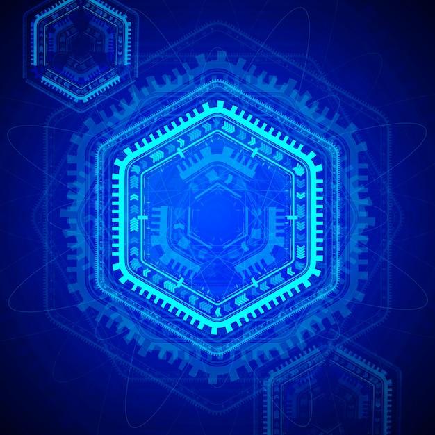 Hexagon technologie hintergrunddesign Premium Vektoren