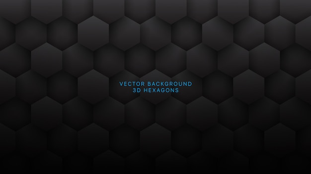 Hexagone dark grey abstract technology background Premium Vektoren
