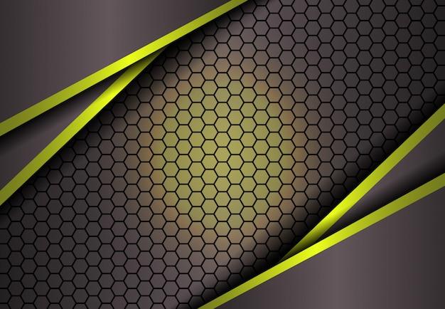 Hexagonhintergrund im goldlicht Premium Vektoren
