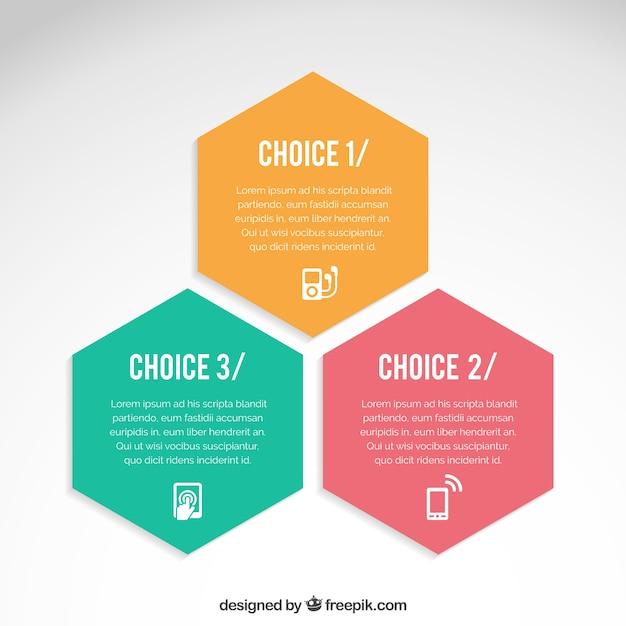 Hexagons infografik Kostenlosen Vektoren