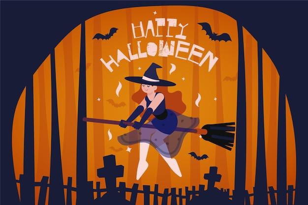 Hexe auf besen halloween hintergrund Premium Vektoren