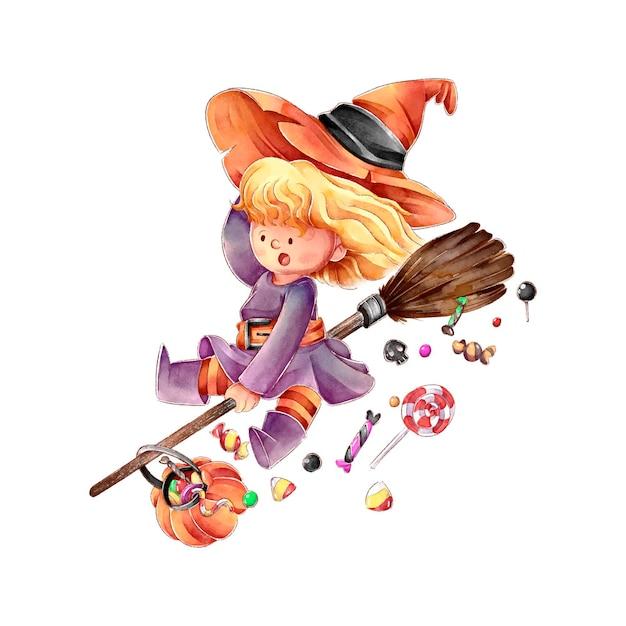 Hexe auf einem besen fröhliches halloween Premium Vektoren