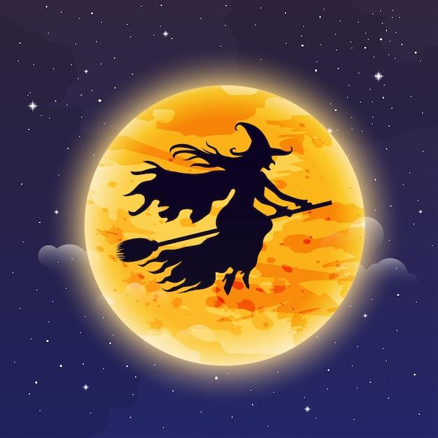 Hexe fliegt auf besenstiel. halloween illustration. hexensilhouette, die vor dem mond fliegt. Premium Vektoren