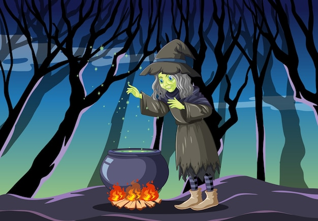 Hexe mit schwarzem magischem topfkarikaturstil auf dunklem dschungel Kostenlosen Vektoren