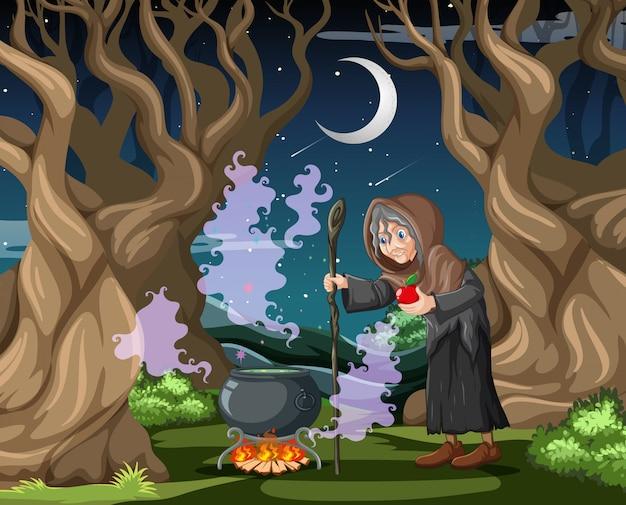 Hexe mit schwarzem magischem topfkarikaturstil auf dunklem dschungelhintergrund Kostenlosen Vektoren