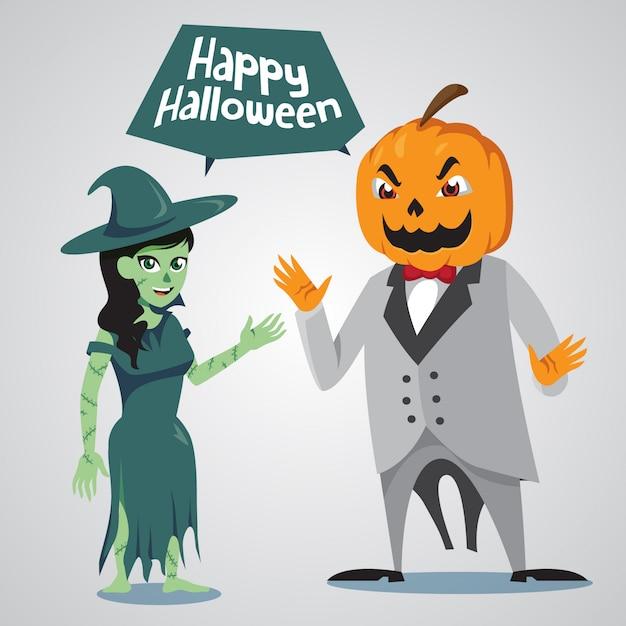 Hexe und kürbislaterne halloween-charakter Premium Vektoren