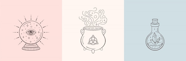 Hexe und magische symbole mit kristallkugel, magische kristallflasche, kessel Premium Vektoren