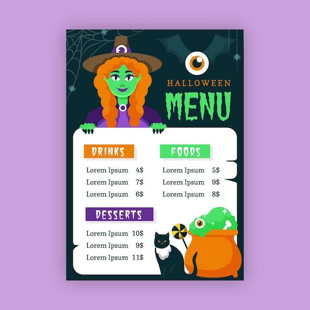 Hexen- und katzen-halloween-restaurantmenüschablone Kostenlosen Vektoren
