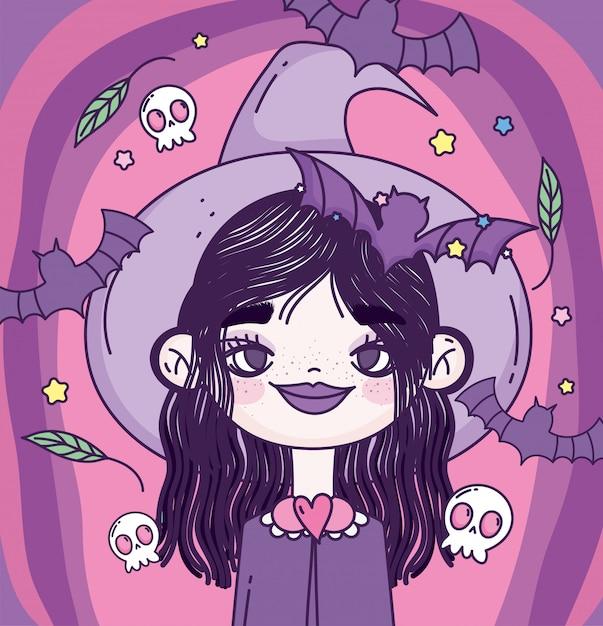 Hexenmädchen süßes oder saures frohes halloween Premium Vektoren