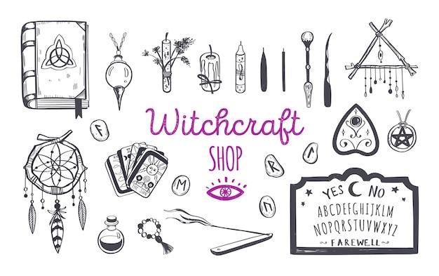 Hexerei, zauberladen für hexen und zauberer. wicca und heidnische tradition. Premium Vektoren