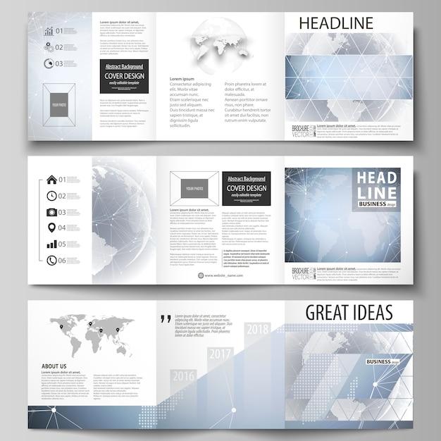 High-tech-hintergrund. drei kreative cover-designvorlagen für quadratische broschüren oder flyer. Premium Vektoren