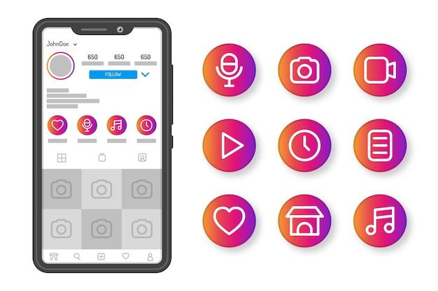 Highlights der instagram-verlaufsgeschichten Kostenlosen Vektoren