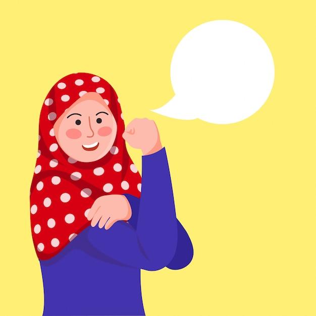 Hijab mädchen posiert Premium Vektoren