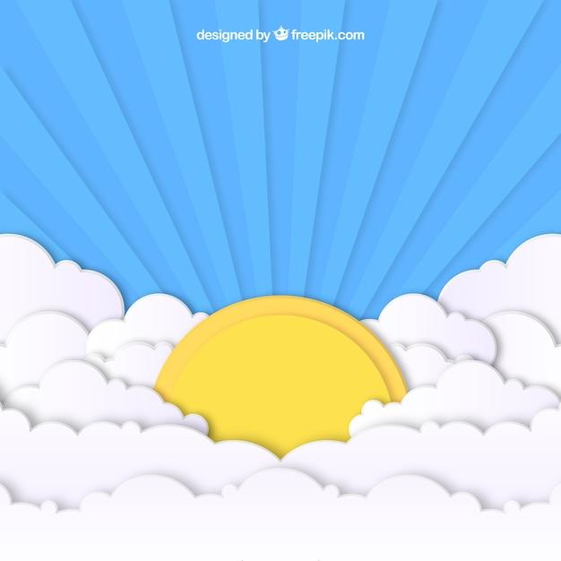 Himmel mit wolken und großer sonnenhintergrund in der papierbeschaffenheit Kostenlosen Vektoren