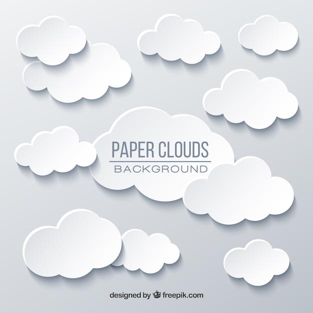 Himmel mit wolkenhintergrund in der papierbeschaffenheit Kostenlosen Vektoren