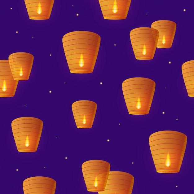 Himmel papierlaternen im nahtlosen muster des sternenhimmels der nacht Premium Vektoren