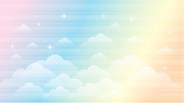 Himmel regenbogen galaxie schöne landschaft hintergrund Premium Vektoren