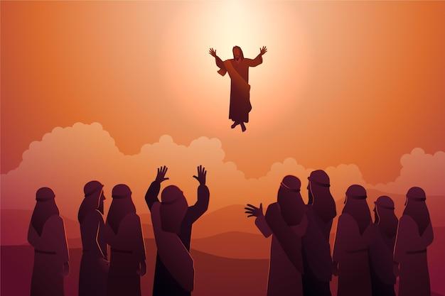 Himmelfahrt illustration mit jesus christus Kostenlosen Vektoren