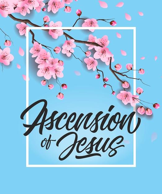 Himmelfahrt von jesus poster mit kirschbaum Premium Vektoren