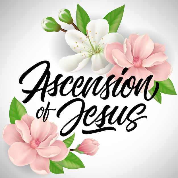 Himmelfahrt von jesus schriftzug mit blüten Premium Vektoren