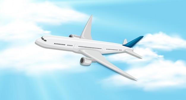 Himmelhintergrund mit flugzeugfliegen Premium Vektoren
