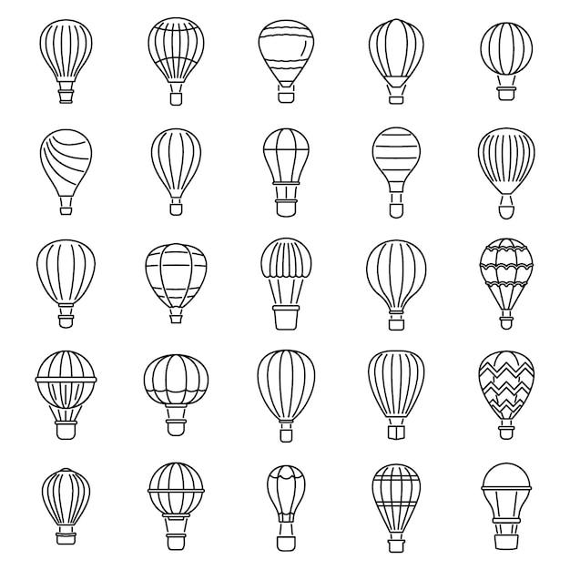 Himmelluftballonikonen eingestellt Premium Vektoren
