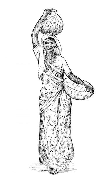 Hinduistische frau, die in indien arbeitet. dame, die ein becken auf dem kopf trägt. gravierte hand gezeichnet, vintage-stil. Premium Vektoren