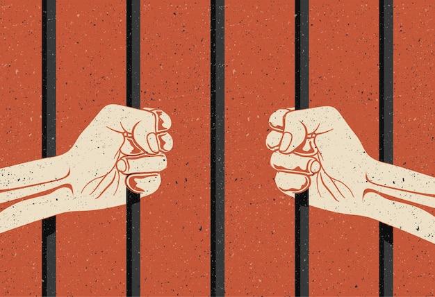 Hinter den gittern. zwei hände arme halten die stangen. inhaftierung, freiheitsentzug konzept. Premium Vektoren