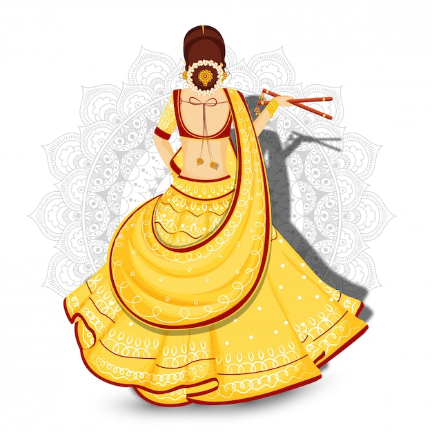 Hintere ansicht der schönheit dandiya-stöcke auf weißem mandalablumenhintergrund halten. Premium Vektoren