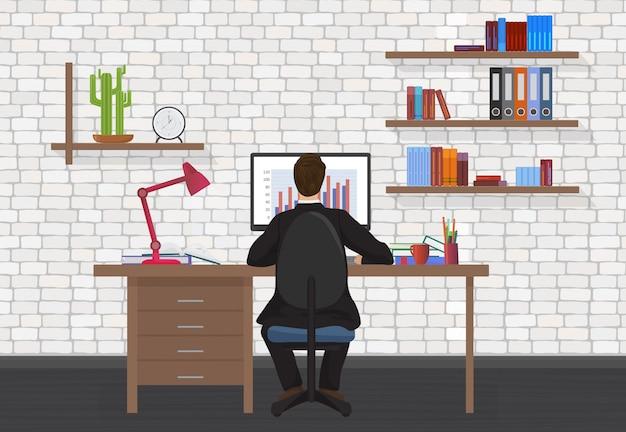 Hintere ansicht des büromannarbeitsplatzes Premium Vektoren