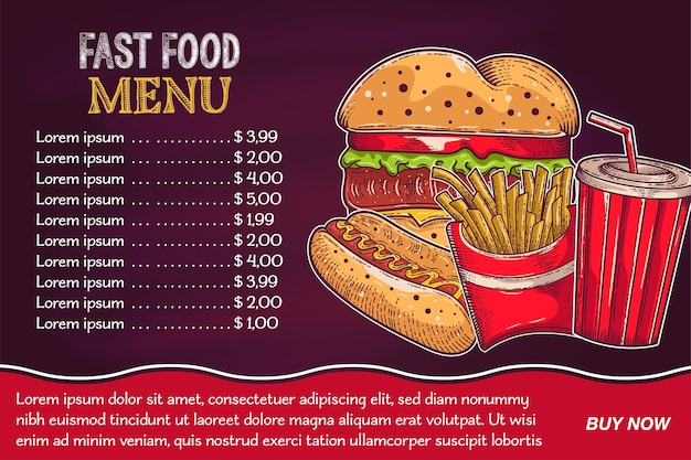 Hintergründe mit einem hamburger, pommes-frites und von hand gezeichnetem soda Premium Vektoren